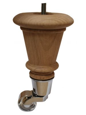 Kim Solid Oak Furniture Leg with Antique Castor