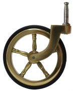 Brass Wagon Wheel Grip Neck Castor with Rubber Tyre